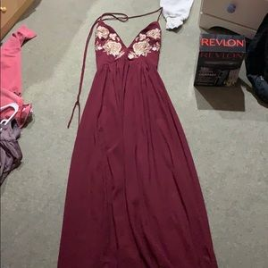 Maroon and gold sequin prom dress
